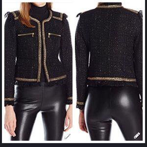 JUICY COUTURE SPECKLED TWEED GOLD CHAIN JACKET